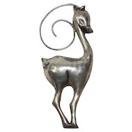 1940s Huge Sterling Art Deco Gazelle Brooch/Pin