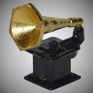 Gramophone or Phonograph Enamel Cast Metal Doll Miniature