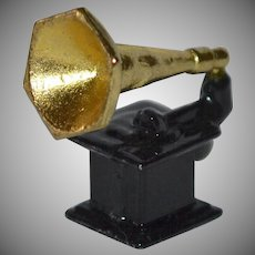 Gramophone or Phonograph Enamel Cast Metal Doll Miniature