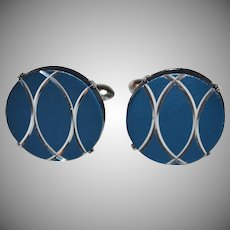 Swank ~ Navy Blue & Chrome Silvertone Cufflinks