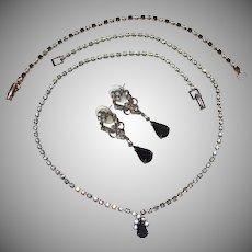 Dainty Black Rhinestone Set: Necklace, Earrings & Bracelet Set