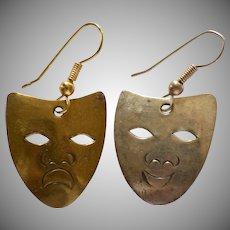 Comedy & Tragedy Brass/Silvertone Pierced Dangle Earrings