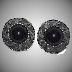 Large Mexican Style Black Glass Cabochon Clip Earrings