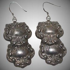 Sterling Repousse Luggage Tag Style Earrings