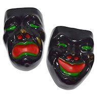Black Comedy & Tragedy Drama Mask Ceramic Wall Pockets