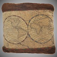 Tapestry Chenille World Map Accent Pillow