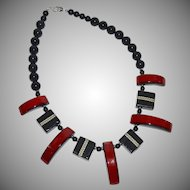 Japanese Red & Black Lacquered Tribal Statement Necklace