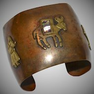 Hand-Wrought Mixed Metal Copper Brass & Abalone Shell Mexican Cuff Bracelet