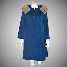 1950s Jacards Kilgarnock by Belson Sapphire Blue Wool Coat w/ Fur Collar