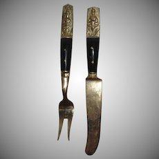 Napa Jewelry Solid Bronze Thai Art Appetizer Fork & Knife