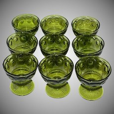 Set of 9 Indiana Glass Thumbprint Dessert or Ice Cream Green Glass Stemware