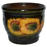West Germany Maize Yellow & Dark Green Flower Glazed Pottery Planter/Vase