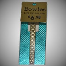 Bowles 10K Gold Filled Watch Strap ~ New Old Stock in Original Package