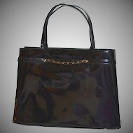 1960s Crown Lewis Black Patent Leather or Black Vinyl Handbag Purse