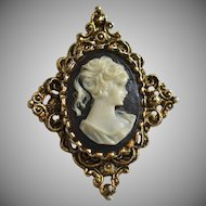 Gerry's Signed Ornate Cameo Antiqued Goldtone Pendant or Brooch/Pin