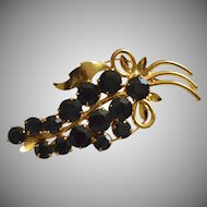 Large Prong-Set Black Rhinestone Grape Cluster Brooch/Pin