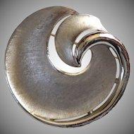 Crown Trifari Signed Silvertone Swirl Brooch