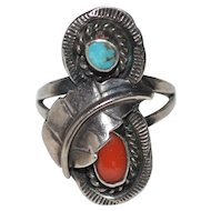Navajo Coral & Turquoise Sterling Silver Feather Ring ~ Size 6.5