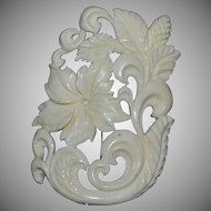 Large Carved Faux Ivory Flower Scrollwork Brooch/Pin