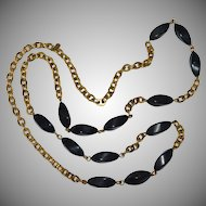 Monet Signed Long Black Bead Gold Link Chain Necklace