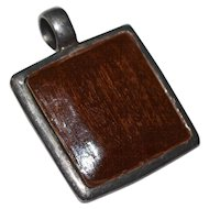Large Sterling Silver Artisan Made Square Wood Pendant
