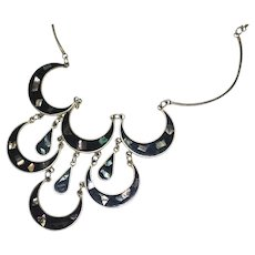 Mexican Alpaca Silver Black Enamel & Abalone Shell Bib Statement Necklace