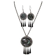 Taxco Sterling Black Enamel & Abalone Drop Earrings w/ Matching Pendant/Pin Necklace Set