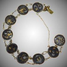 Japanese Damascene 24K Gold & Silver Inlay Oxidized Black Round Link Bracelet