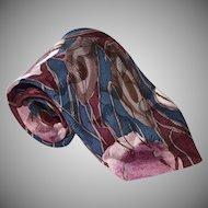 Oscar de la Renta 100% Silk Purple Flower Abstract Neck Tie