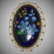 Large Handpainted Forget-Me-Not Flower Black Porcelain Filigree Mourning Brooch/Pin