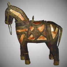 Antique Bone & Brass Carved Wood War Horse Folk Art Sculpture