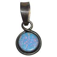 Sterling Silver Reversible Faux Foil Opal Pendant