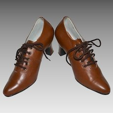 1930s Deco Era Copper Brown Leather Walking Shoes