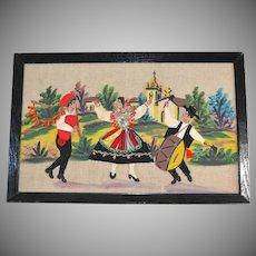1940s European Old World 3-D Dancers & Musicians Embroidery & Textile Folk Art Painting