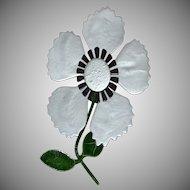 """Huge 5"""" Gray Enamel 3-D Stemmed Flower Brooch/Pin"""