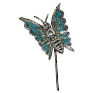 Signed Sterling & Crushed Blue Turquoise Butterfly Stick Pin