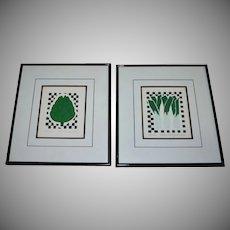 Carolyn Oltman Artichoke & Leeks Signed/Numbered Framed Silkscreen Art Prints