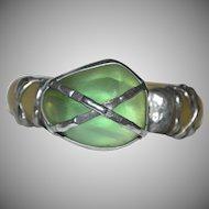 Brutalist Style MAYA Designer Faux Green Stone Translucent Resin Bangle Bracelet STATEMENT PIECE