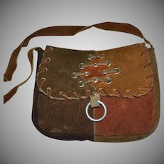 1960s Sirco Handcrafted Patchwork Leather Hippie Shoulder Purse for Young Adult or Child