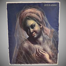 20th C Listed Artist Jaime de Jaraiz Gypsy 'Gitana' Woman Wearing Translucent Veil Scarf Oil on Canvas Painting
