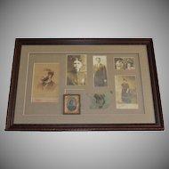 Elegant Framed Shadow Box of 7 Unique Family Photographs, Cabinet Cards, Daguerreotype of Men & Women