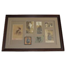 Elegant Framed Shadow Box of 7 Unique Family Photographs, Cabinet Cards, Daguerreotype of Men & Women