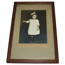 Framed Antique Edwardian Pretty Girl with Hair Bow Original B & W Photograph