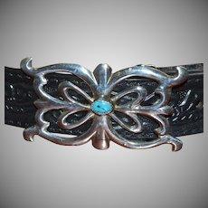 Blue Turquoise & Sterling Silver Ornate Scrollwork Southwestern Ladies' Belt Buckle