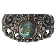 Signed Sterling Silver & Abalone Accent Floral Filigree Ring Size 9