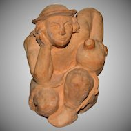 American Sculptress Jayme Curley 'Seated Man Holding Jug' Clay Art Sculpture