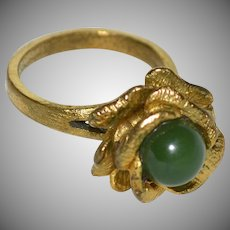 Green Jade Figural Flower Gold Plated Ring ~ Size 8