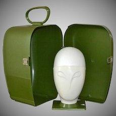 1970s Alien Wig Head & Matching Space Age Atomic Avocado Green Plastic Case