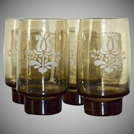 1970s Pfaltzgraff Village Etched Smoky Brown Glass Stackable Tumblers