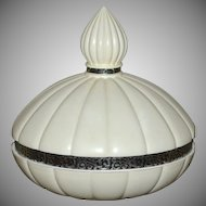 Luzier White Ribbed Genie Bottle Dusting Powder Dish w/ Lid & Insert